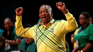 South African President Jacob Zuma addresses an ANC gathering