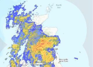 radar picture of Scotland on Sunday afternoon