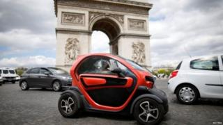 Hybrid and electric cars, like this Renault, make up about 5% of the French car market