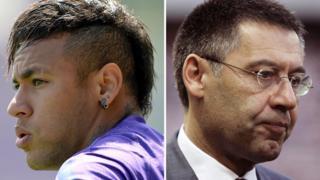 Neymar da Silva Santos Junior and Barcelona president Josep Maria Bartomeu