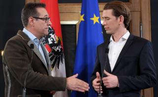 Sebastian Kurz (R) and Heinz-Christian Strache give a joint press conference in Vienna on December 15, 2017