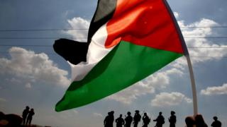 A Palestinian flag during a protest in the village of Tamun, near Nablus, in the Israeli occupied West Bank, on September 27, 2017