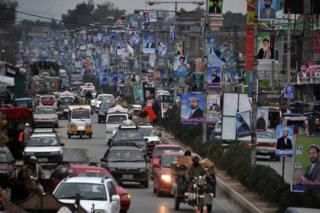 A street scene from Jalalabad in 2014, prior to Afghanistan's general election