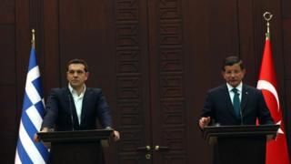 Alexis Tsipras (L) and Ahmet Davutoglu, 18 Nov
