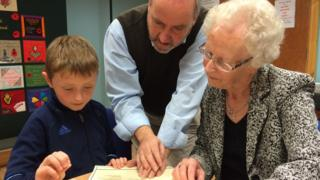 Genealogist Frank McHugh with Adam Porter and Eileen Stott