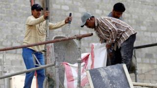 Asian labourers at a construction site in Riyadh, Saudi Arabia