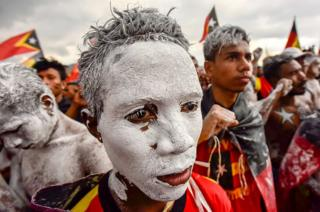 Fretilin party supporters participate in an election campaign rally in Dili, East Timor on 19 July 2017.