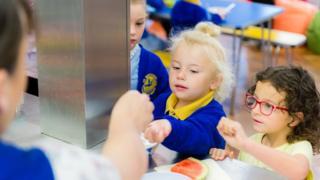 Children buy breakfast