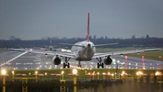 Aircraft on runway at Gatwick