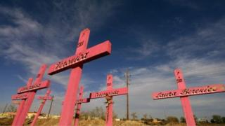 Wooden crosses are seen in the place where the corpses of eight murdered women were found in 2001 in Ciudad Juarez, Chihuahua, 11 April 2006.
