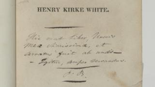 Patrick Bronte's inscription inside The Remains of Henry Kirke White by Robert Southey