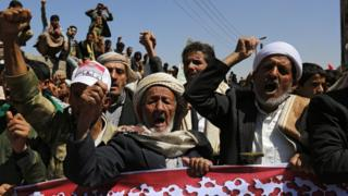 "Yemenis shout slogans during an anti-Saudi rally protesting Saudi-led airstrikes on a funeral hall, outside the UN offices in Sana""a, Yemen, 09 October 2016"