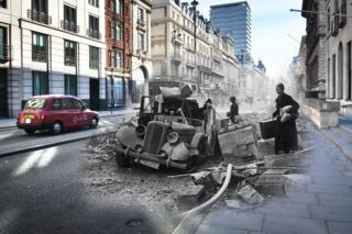 In this digital composite image a comparison has been made between a London scene during the Blitz of 1940-1941 and present day, to remember the 75th anniversary of the end of the Blitz in London on 11 May 2016.