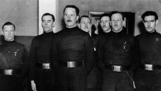 William (Lord Haw Haw) Joyce (left) with Oswald Mosley (middle) and other members of the British Union of Fascists