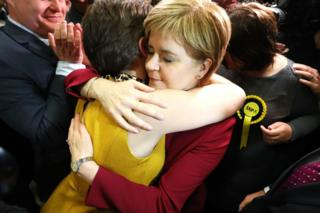 Scotland's First Minister Nicola Sturgeon arrives at the Emirates Arena in Glasgow.