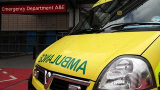 An ambulance outside an A&E department