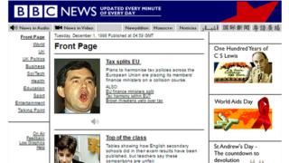 BBC News website front page from 1998