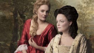 ROMOLA GARAI (SARAH, DUCHESS OF MALBOROUGH) AND EMMA CUNNIFFE (QUEEN ANNE) IN QUEEN ANNE.