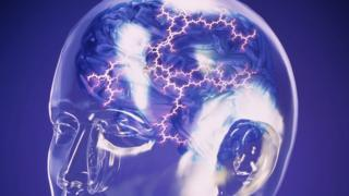 Computer abstract artwork of an electrical storm within a glass model head
