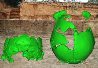 Modelo em computador das caveiras de Xuchang