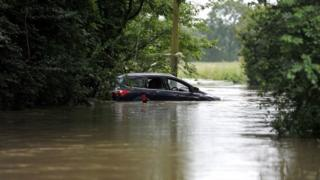 Flooded road in Billericay, Essex,