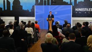 David Cameron makes speech in Birmingham.