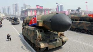 4月16日の軍事パレードで披露されたミサイル