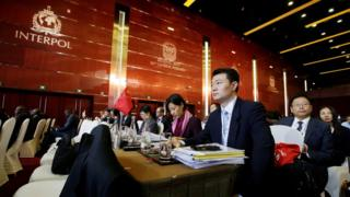 Chinese delegates attend the Interpol General Assembly in Beijing, China (27 September 2017)