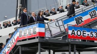 台湾总统蔡英文前往南部高雄左营海军军港