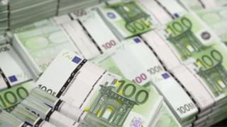 Bundles of 100 euro notes, 22 July 2013