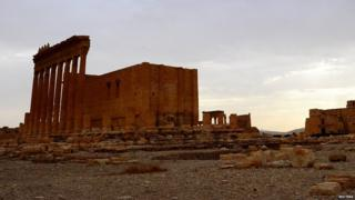 A general view shows the Temple of Bel in the historical city of Palmyra 31 August 2015