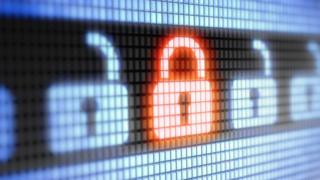 Digital image of glowing red padlock