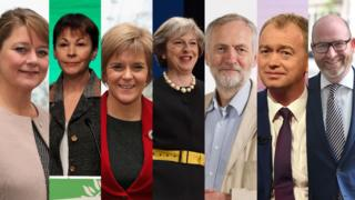 Composite image of the UK party leaders of the 2017 general election. L-R: Leanne Wood (Plaid Cymru), Caroline Lucas (Green), Nicola Sturgeon (SNP), Theresa May (Conservative), Jeremy Corbyn (Labour), Tim Farron (Liberal Democrat), Paul Nuttall (UKIP).
