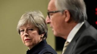 Theresa May and Jena-Claude Juncker