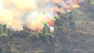 South Wales firefighters tackle grassfire in Rhondda Cynon Taff