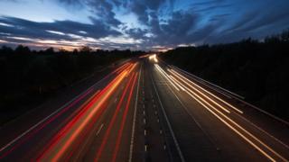 Lights on motorway at dusk