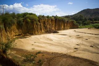 What used to be a river in Makueni is now a gaping hole with steep cliffs