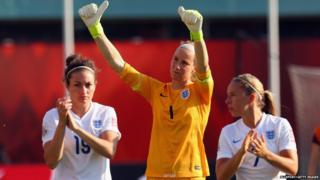 Karen Bardsley no 1 of England waves after a loss to Japan during the FIFA Women's World Cup Canada 2015 Semi Final match