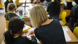 Teacher in a classroom with children