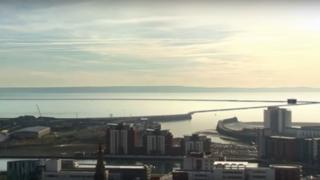 Artist's impression of the lagoon across Swansea Bay
