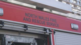 North Wales Fire and Rescue sign on fire engine