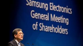 Kwon Oh-Hyun, co-chief executive officer of Samsung Electronics Co., speaks during the company's annual general meeting
