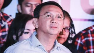 """Jakarta""""s incumbent governor Basuki """"Ahok"""" Tjahaja Purnama looks up shortly before speaking to journalists on a press conference in Jakarta, Indonesia, 19 April 2017."""