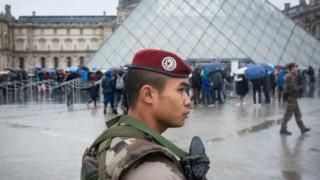 Военные у Лувра