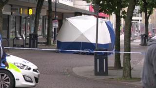 Police tent in Ashton-under-Lyne