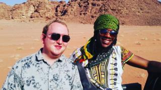 Business partners Adam and Jordan in the desert of Jordan