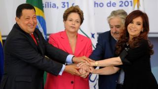 Los presidentes de Venezuela, Brasil, Uruguay y Argentina en 2012