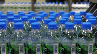 A view taken at French mineral water Volvic factory on July 2, 2014
