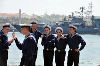 Russian sailors in Sevastopol, Crimea, 7 May 2010