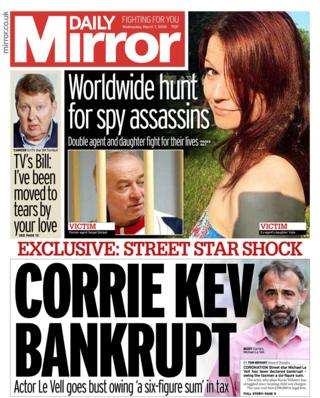 Daily Mirror front page - 07/03/18